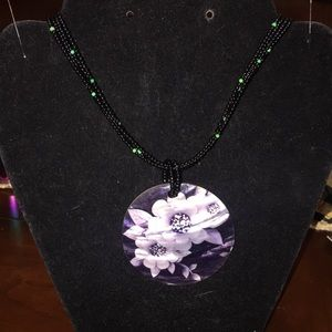 Jewelry - Beaded multi strand necklace with painted shell